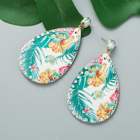 bohemian palm leaf print leather earrings NHLN326121's discount tags