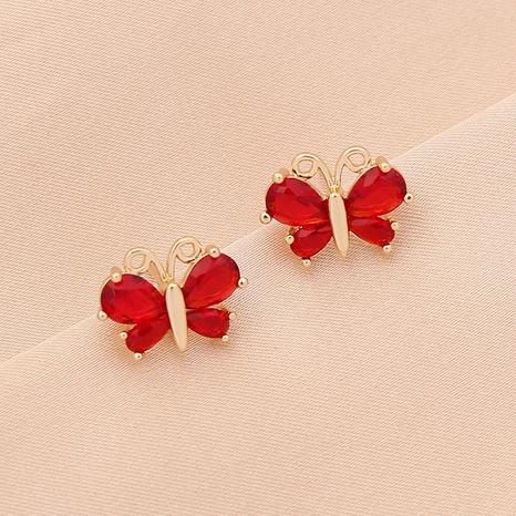 aretes retro de mariposa multicolor con circonitas NHBW326166's discount tags