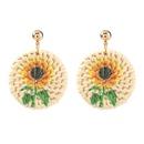Bohemian rattan woven sunflower earrings  NHJE326170