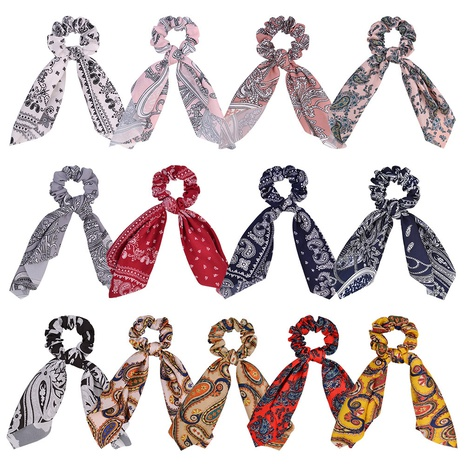new fashion retro printing bow hair scrunchies set NHMO326199's discount tags