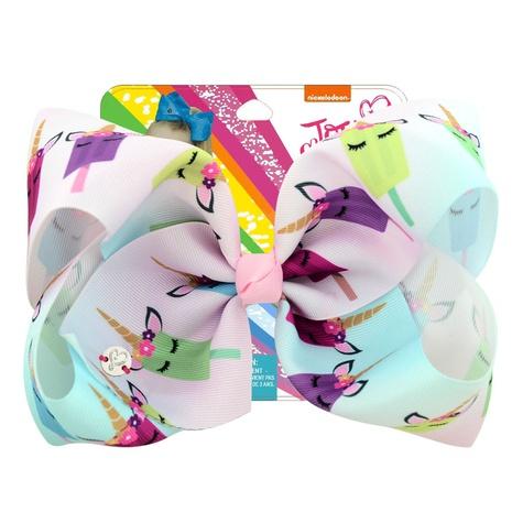 New cute korean rainbow Gradient Color Unicorn Ribbon Hairpin NHMO326216's discount tags