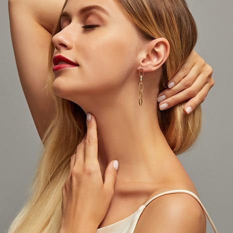 simple geometric tassel metal chain earrings wholesale NHCU326235's discount tags