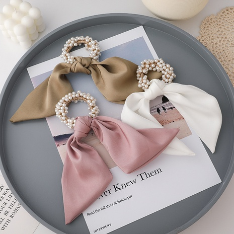 French fashion pearl knotted bow hair scrunchies  NHMS326265's discount tags