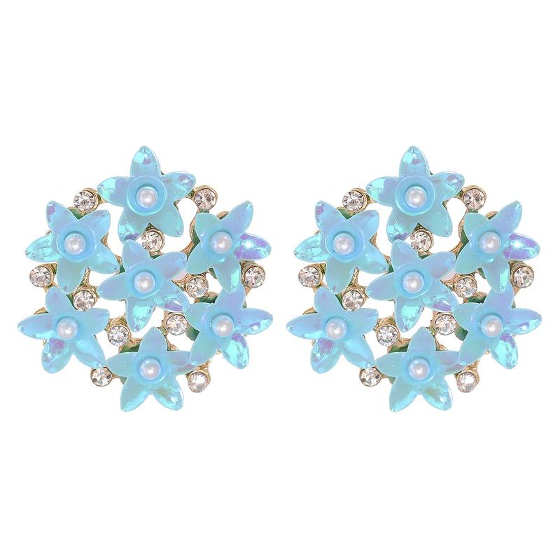 Simple Multicolor Flower Ball Stud Earrings  NHJJ326293