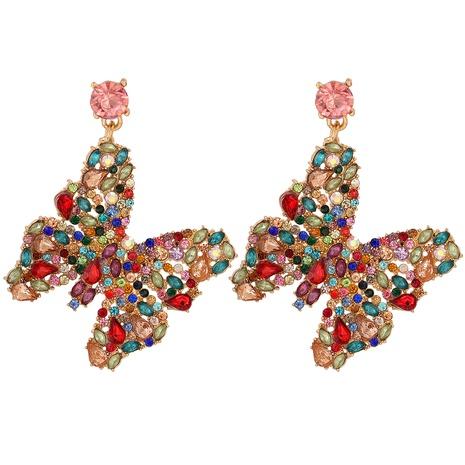 pendientes de mariposa de diamantes de colores retro NHJJ326296's discount tags