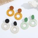fashion retro alloy inlaid resin color circle earrings NHJQ326314