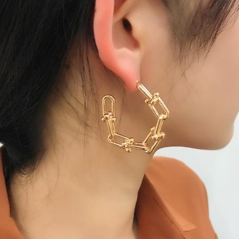 fashion simple geometric C-shaped metal earrings   NHMD326354's discount tags