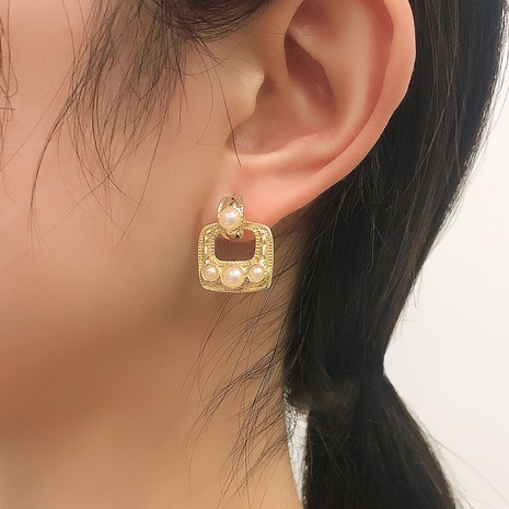 fashion simple geometric square pearl earrings NHMD326358's discount tags