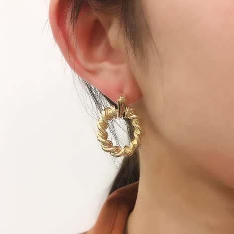 retro simple spiral circle metal earrings NHMD326359's discount tags