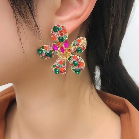 geometric color flower diamond alloy earrings NHMD326364's discount tags