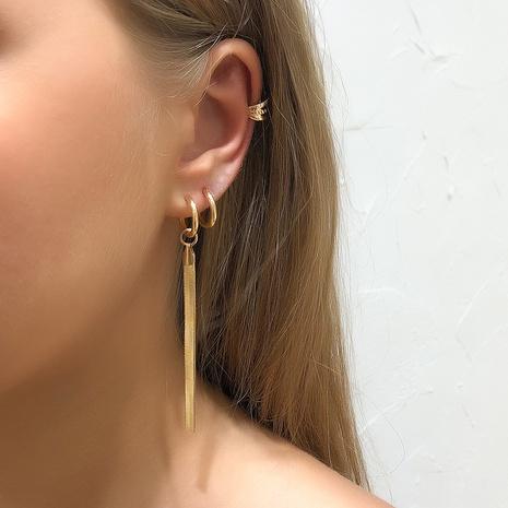 simple metal tassel thin earrings set NHMD326367's discount tags