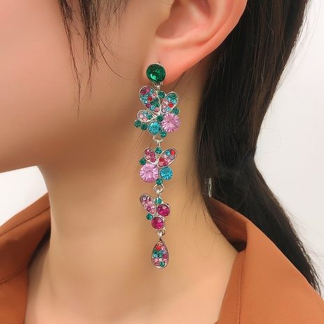 retro multi-layer color diamond long earring NHMD326371's discount tags