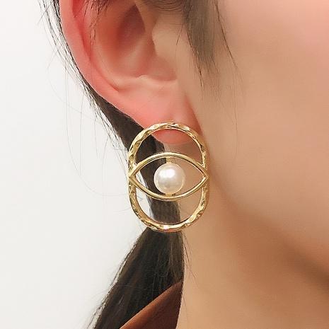 fashion geometric hollow eye pearl earrings NHMD326374's discount tags