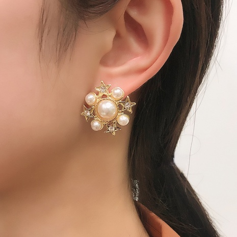 fashion diamond-studded pearl star snowflake square earrings NHMD326375's discount tags