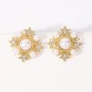 fashion diamondstudded pearl star snowflake square earrings NHMD326375