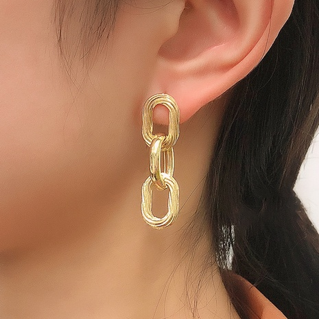 fashion metal spiral thick chain earrings NHMD326378's discount tags