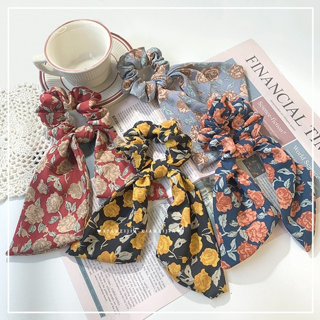 Korean bowknot floral ribbon hair scrunchies NHOF326387's discount tags