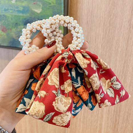 Korean simple floral bow hair scrunchies NHOF326391's discount tags