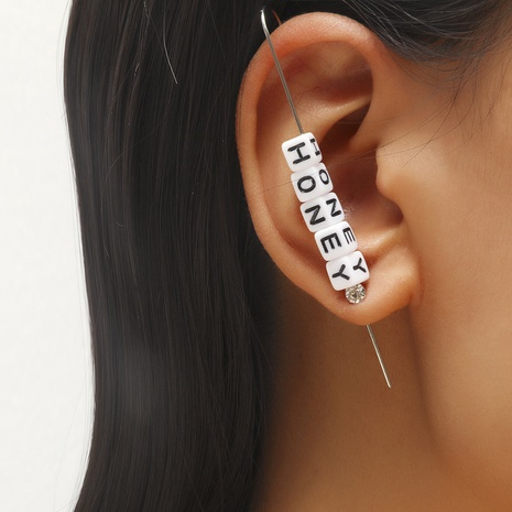 punk fashion letter diamond earrings NHDP326415's discount tags