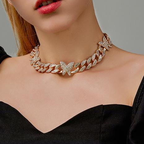 verstellbare Halskette aus Retro-Strassschmetterling NHDP326433's discount tags