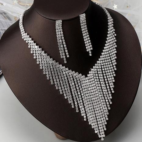 fashion bridal wedding rhinestone necklace earrings set wholesale NHNZ326437's discount tags