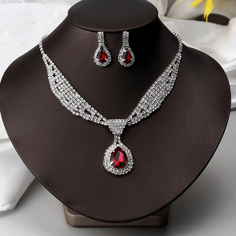fashion full diamond earrings necklace two-piece set NHNZ326443's discount tags