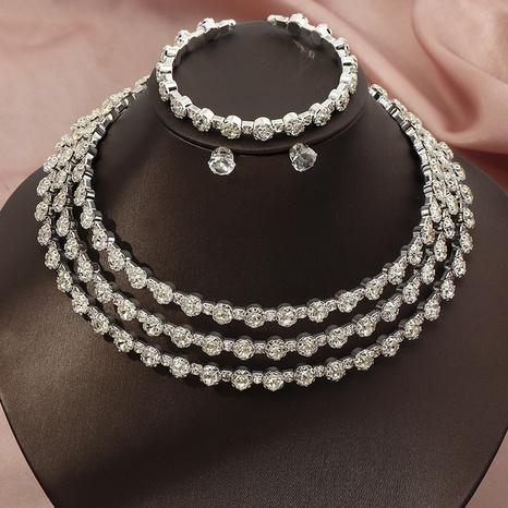simple diamond-studded necklace earrings bracelet three-piece set NHNZ326446's discount tags