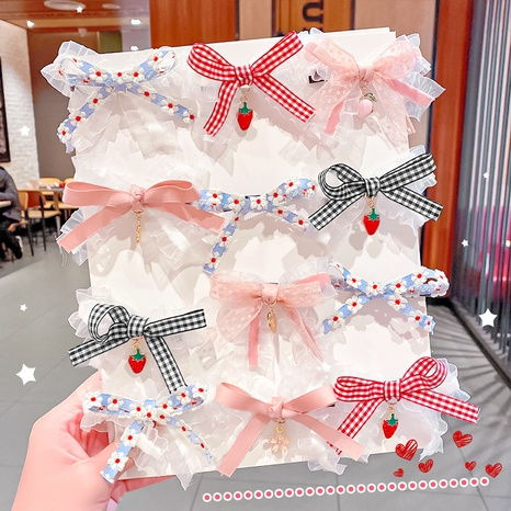 Korean lace bow hairpin wholesale NHNA326461's discount tags