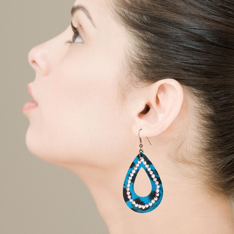 retro drop-shaped hollow rhinestone leather earrings  NHLN326471's discount tags