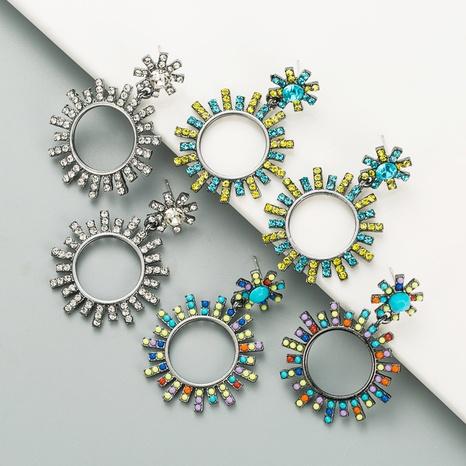 Fashion geometric round diamond earrings  NHLN326477's discount tags