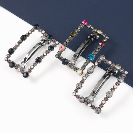 Korean fashion square alloy acrylic geometric hairpin NHJE326482's discount tags