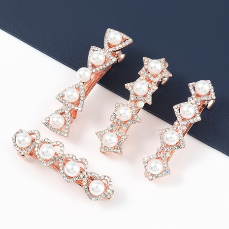 fashion alloy diamond pearl geometric hairpin NHJE326485's discount tags