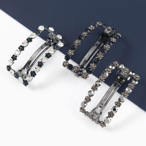 Korean square alloy diamond acrylic geometric hairpin NHJE326487's discount tags