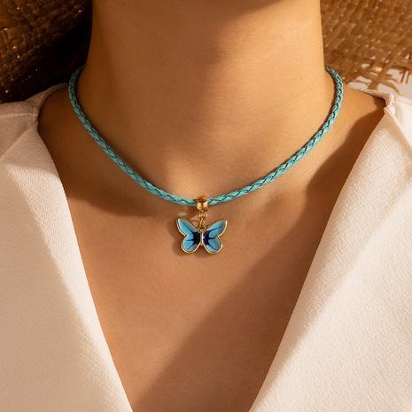 Collar mariposa retro azul cuerda tejida a mano NHGY326980's discount tags