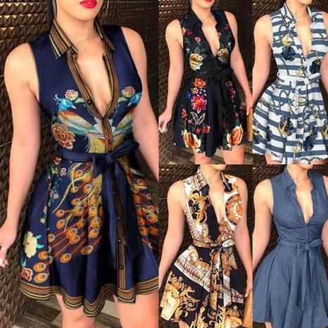 Vestido estampado sexy de moda con cuello en V NHJC327598's discount tags