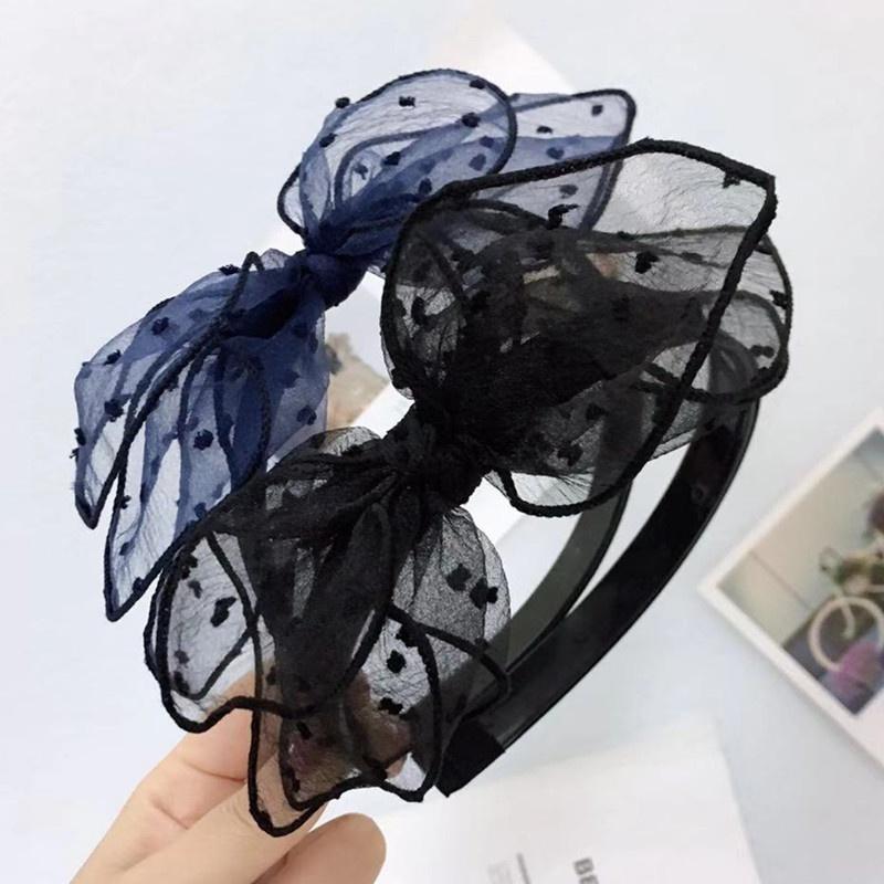 Korea cute polka dot yarn black bow headband NHWB326543