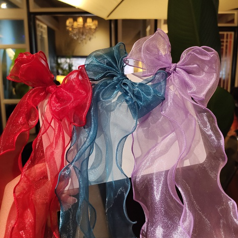 children's cute bow ribbons lace mesh long hair clip NHDM326575's discount tags