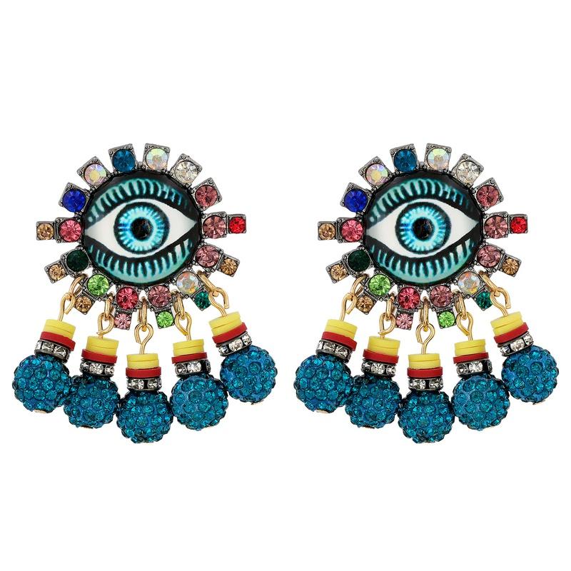 retro eye shape pendent stud earrings  NHJJ326596