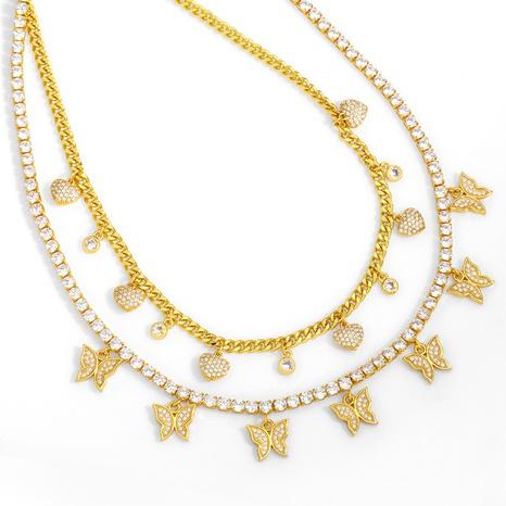Retro Schmetterling Diamant Schlüsselbein Kette NHAS326597's discount tags