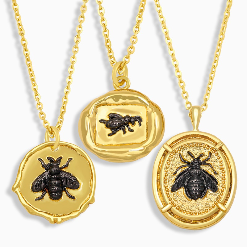 hiphop bee pendant necklace NHAS326598