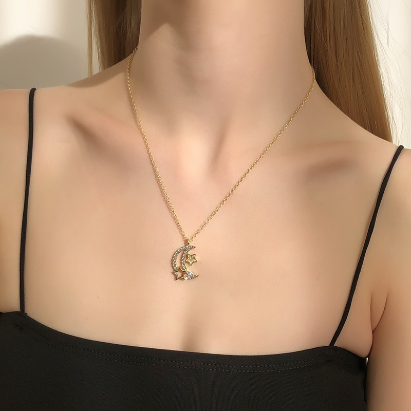 fashion moon star pendant diamond necklace NHMD326607