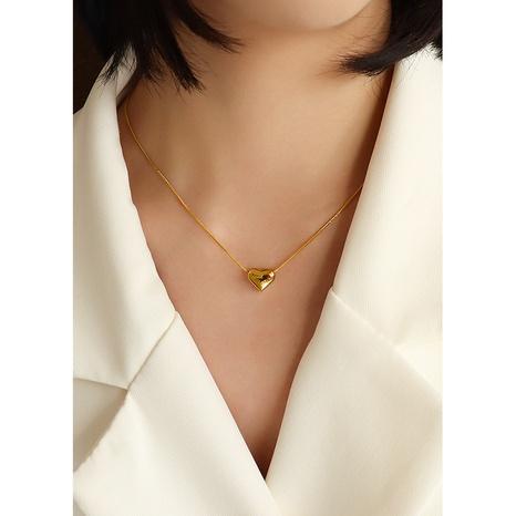 einfache rote Zirkon Pfirsich Herz Halskette NHOK326609's discount tags