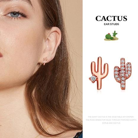 Asymmetrische Ohrringe in koreanischer Kaktusform NHDP326623's discount tags