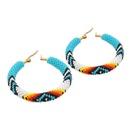Miyuki rice beads handmade woven colorful eyes geometric large hoop earrings  NHGW326709