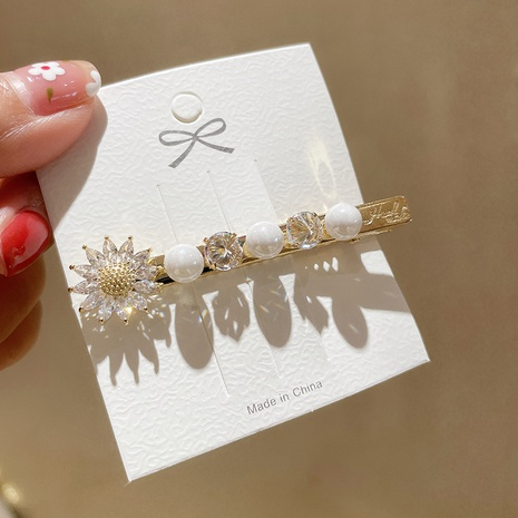 Korean pearl flower crystal hairpin  NHMS326747's discount tags