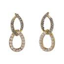Korean dropshaped diamond pearl earrings  NHMS326754