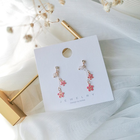 hollow pink flower long earrings  NHMS326778's discount tags