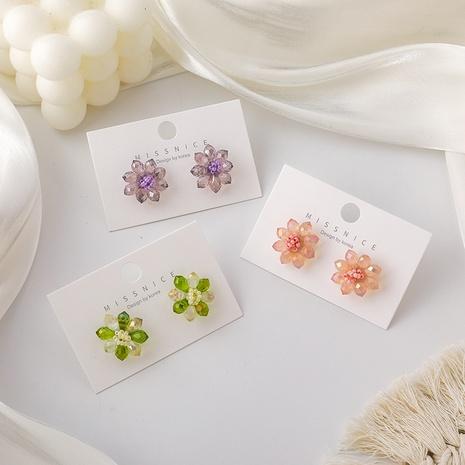 Korean colorful crystal flower earrings  NHMS326792's discount tags