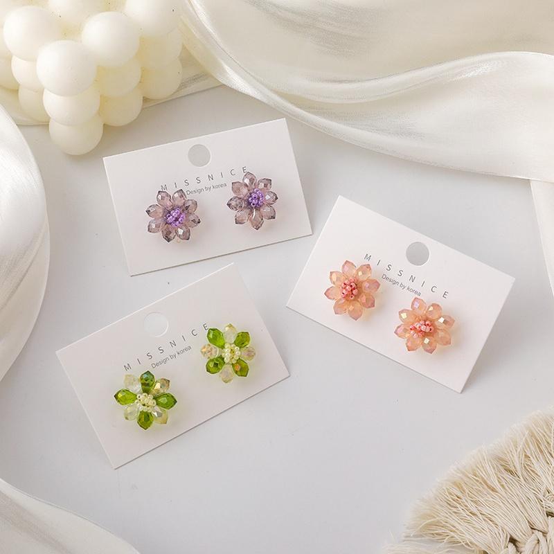 Korean colorful crystal flower earrings  NHMS326792