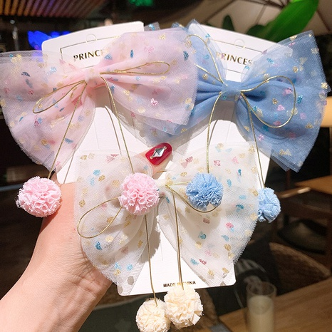 Children's colorful pink dot gauze big bow hair clip NHSA326820's discount tags